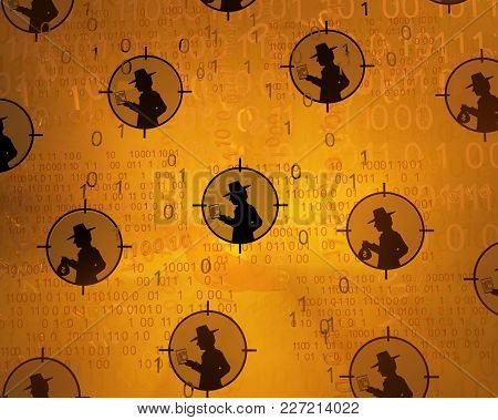 Spy Shadow Figure Targets, Cyberspace Virtual Reality Abstract 3d Illustration, Horizontal