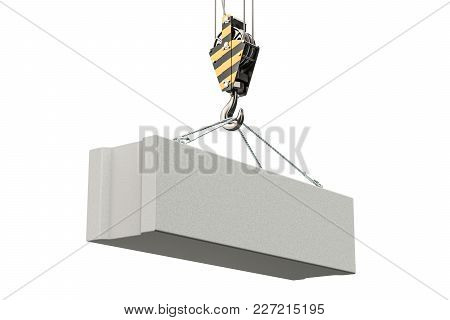 Crane Hook With Foundation Concrete Block. 3d Rendering Isolated On White Background