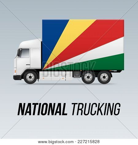 Symbol Of National Delivery Truck With Flag Of Seychelles. National Trucking Icon And Flag Colors