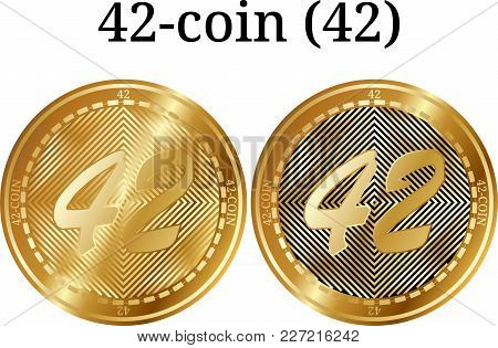 Set Of Physical Golden Coin 42-coin (42), Digital Cryptocurrency. 42-coin (42) Icon Set. Vector Illu