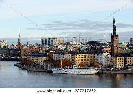 Stockholm View With The Riddarholm Church Wich Is One Of The Oldest Buildings. Sweden