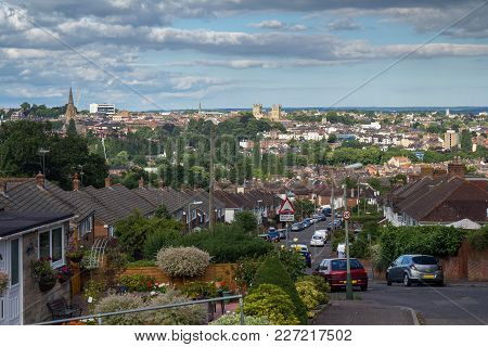 Evening View Of Exeter From One Of The Streets On The Hill. Devon. England