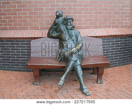 2011, Kaliningrad (russia). Sculpture Depicting A Sailor With A Monkey. Other Names Of The Sculpture