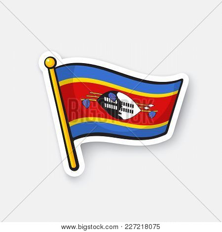 Vector Illustration. National Flag Of Swaziland. Countries In Africa. Location Symbol For Travelers.
