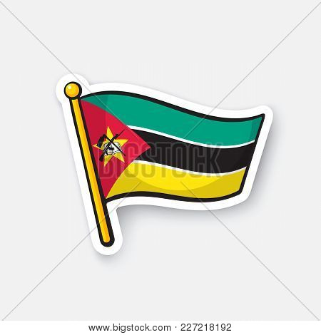 Vector Illustration. National Flag Of Mozambique. Countries In Africa. Location Symbol For Travelers