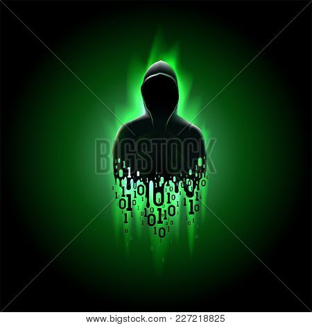Silhouette Of A Hacker In A Hood With Binary Code On A Luminous Green Background, Hacking Of A Compu