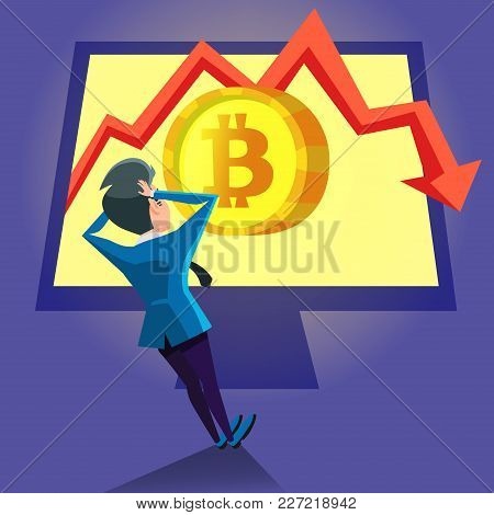 Shocked Businessman Looking On Bitcoin Crash Graph On The Computer. Cryptocurrency Market Concept. V