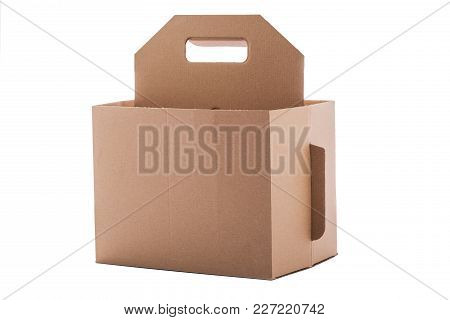 Cardboard Box With Handle Isolated Over A White Background.