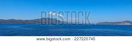 Beautiful Seascape. Taken From The Yacht On A Sunny Summer Day. Saronic Gulf Greece.