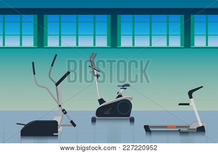 Sports Hall With Various Training Equipment To Strengthen The Ligaments And Muscles: An Exercise Bik