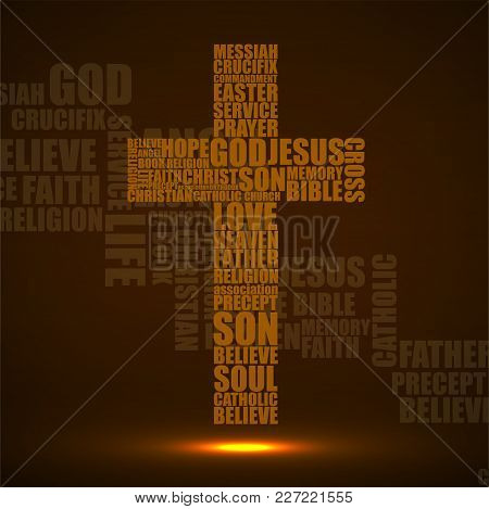 Abstract Cross Of Religious Words. Christian Symbol. Vector