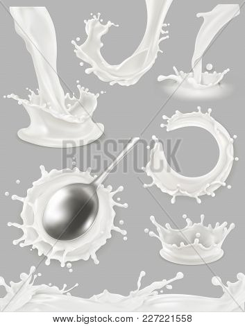Milk Drop And Splash. 3d Vector Object Set