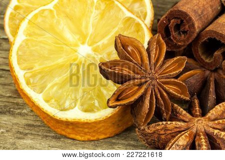 Dried Slice Of Lemon And Star Anise. Sale Of Spices. Aromatic Spices