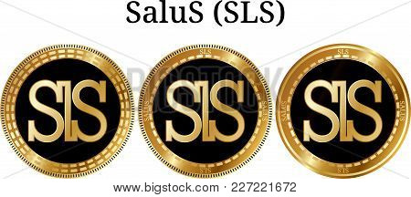 Set Of Physical Golden Coin Salus (sls), Digital Cryptocurrency. Salus (sls) Icon Set. Vector Illust