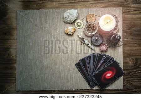 Tarot Cards Deck On Fortune Teller Desk Table Background With Copy Space. Future Reading Concept.