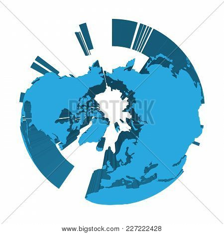 Earth Globe Model With Blue Extruded Lands. Focused On Arctica And North Pole. 3d Vector Illustratio