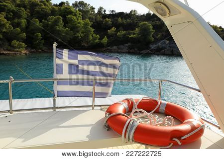 Summer Vacation On A Yacht In Greece Concept. Horizontal.