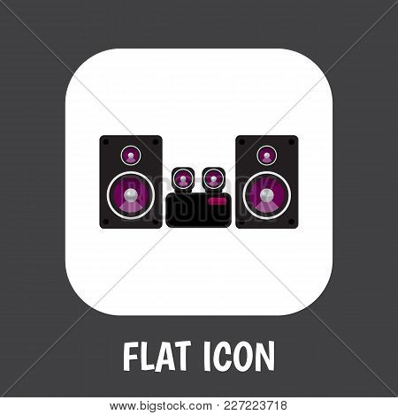 Vector Illustration Of Tech Symbol On Loudspeaker Icon Flat. Premium Quality Isolated Stereo System