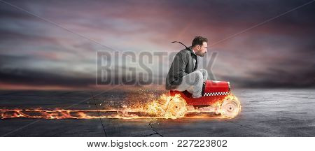 Fast Businessman With A Car Wins Against The Competitors. Concept Of Business Success And Competitio