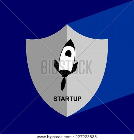 Shield Icon With Long Shadow - Start Up. Block Chain Icon. Vector Graphic Illustration.