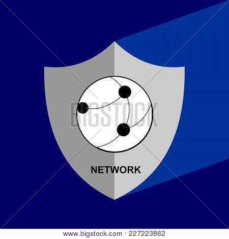 Shield Icon With Long Shadow - Network. Block Chain Icon. Vector Graphic Illustration.