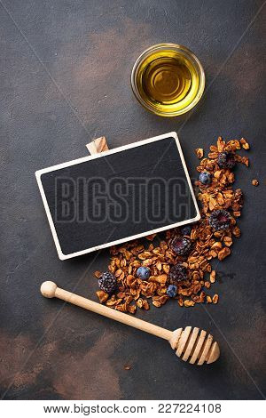 Healthy Homemade Granola With Honey. Top View, Space For Text