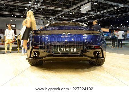 Dubai, Uae - November 18: The Aston Martin Db 11 Sports Car Is On Dubai Motor Show 2017 On November