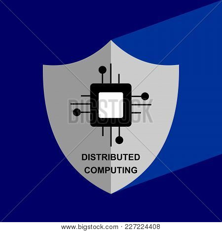 Shield Icon With Long Shadow - Distributed Computing. Block Chain Icon. Vector Graphic Illustration.