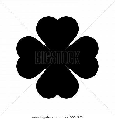 Shamrock Silhouette - Black Four Leaf Clover Icon. Good Luck Theme Design Element. Simple Geometrica