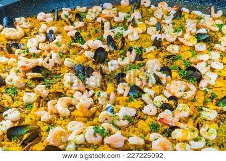 Detail Of The Famous Spanish Dish Called Paella Made With Rice Vegetables And Seafood Medellin Colom