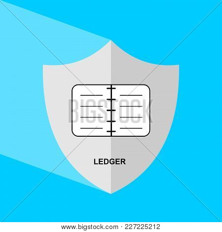 Shield Icon With Long Shadow - Ledger. Block Chain Icon. Vector Graphic Illustration.