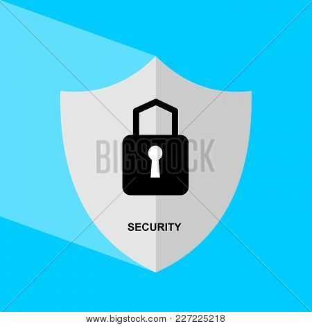 Shield Icon With Long Shadow - Security. Block Chain Icon. Vector Graphic Illustration.