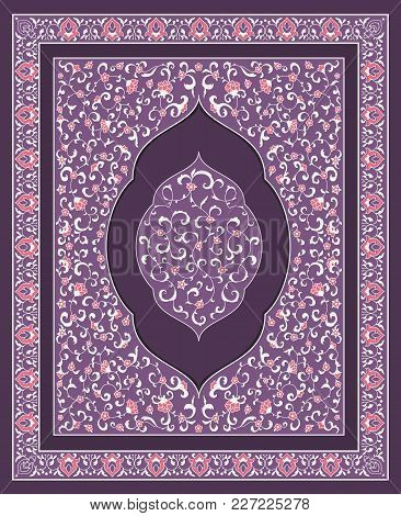 Islamic Or Indian Floral Invitation In Victorian Style. Ornamental For Card For Cafe, Shop, Print, B