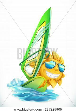 Summer Windsurfing. Funny Sun On Surfboard 3d Vector Icon