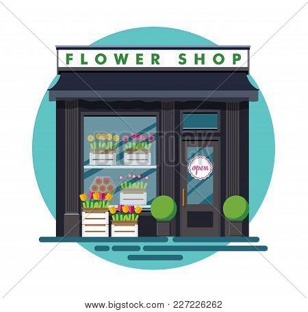 Flower Shop. Facade Of An Flower Shop. Illustration Of An Flower Shop In A Flat Style. Vector Illust