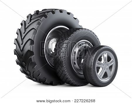 New Car Wheels Set With Disk For Cars, Tractor And Trucks. 3d Illustration Over White Background.