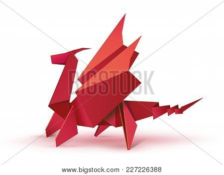 Origami. Origami Dragon. Red Origami Dragon. Illustration Of A Red Dragon Origami Figure. Flying Dra