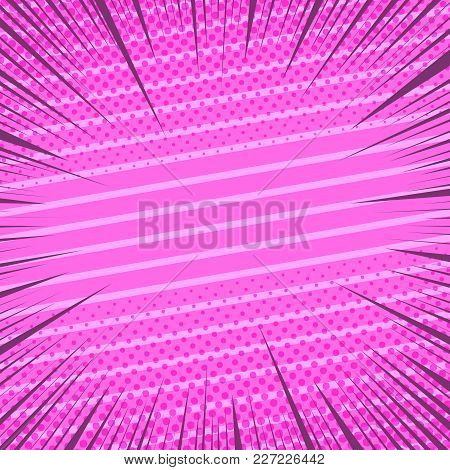 Comic Book Page Pink Background With Halftone Slanted Lines And Rays Humor Effects. Vector Illustrat