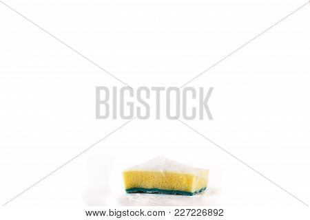 Scouring Pad For Cleaning Pots With Foam And Yellow Sponge.kitchen Pad, Double.