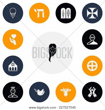 Set Of 13 Editable Faith Icons. Includes Symbols Such As Friar, Save Love, Temple And More. Can Be U