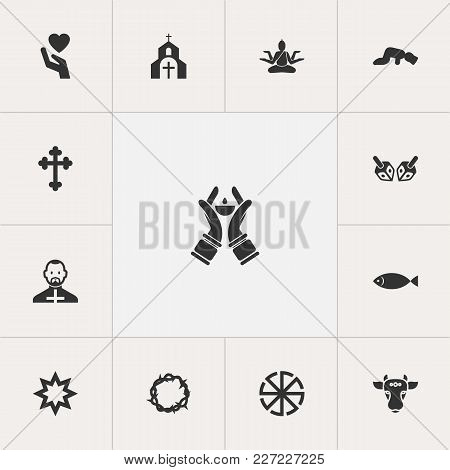 Set Of 13 Editable Religion Icons. Includes Symbols Such As Christian Cross, Heart In Hand, Ichthys.