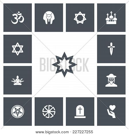 Set Of 13 Editable Faith Icons. Includes Symbols Such As Star, Pentagram, Jewish And More. Can Be Us