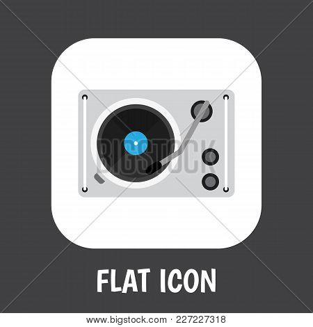 Illustration Of Technology Symbol On Gramophone Icon Flat. Premium Quality Isolated Turntable Elemen