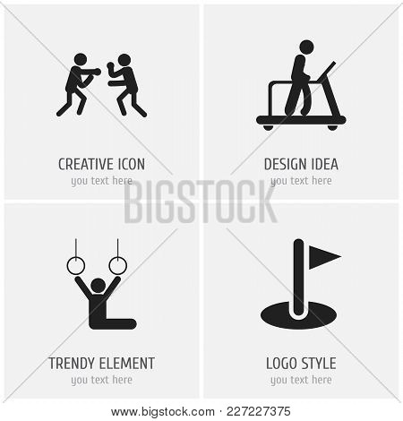 Set Of 4 Editable Lifestyle Icons. Includes Symbols Such As Flag, Acrobat, Executing Running And Mor