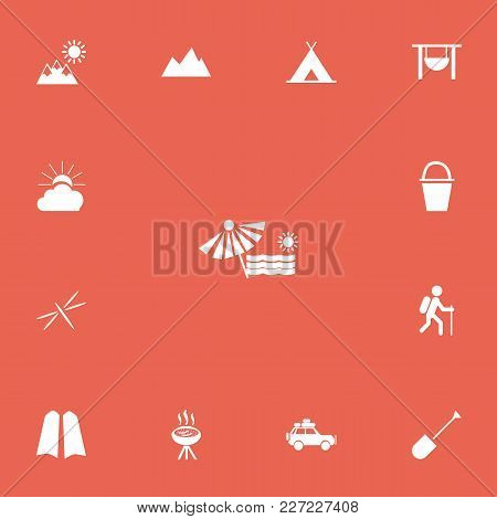 Set Of 13 Editable Camping Icons. Includes Symbols Such As Peak, Plage, Tent And More. Can Be Used F