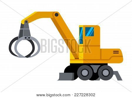 Wheeled Timber Handler Minimalistic Icon Isolated. Forestry Equipment Isolated Vector. Heavy Equipme