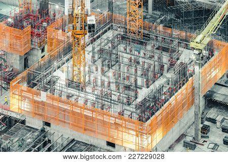 Isometric Top View Of An Under Construction Building. Civil Engineering, Industrial Development Proj