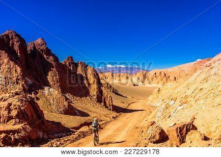 View On Cyclist In Death Valley By San Pedor De Atacama - Chile