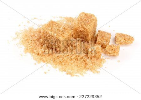 Brown Sugar Heap Isolated On White Background.