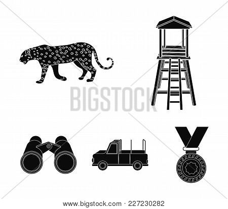 Observation Tower For The Hunter, Leopard, Hunting Machine, Binoculars. African Safari Set Collectio